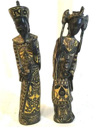 Pair Vnt Asian Intricately Carved Bone Figurals