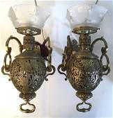 Pair Vintage Gold Toned Brass Wall Lamps
