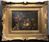 Pair Antique Framed Italian Floral Oil Paintings