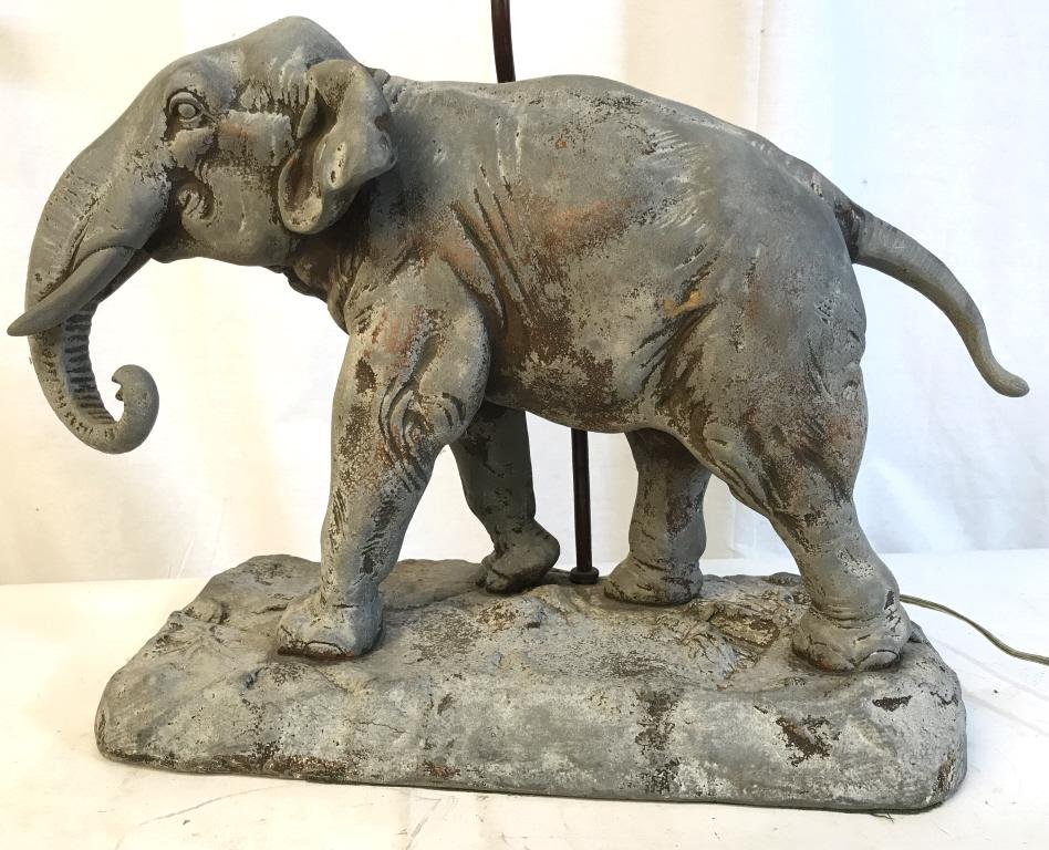 Signed Elephant Figural Lamp after Charles VALTON