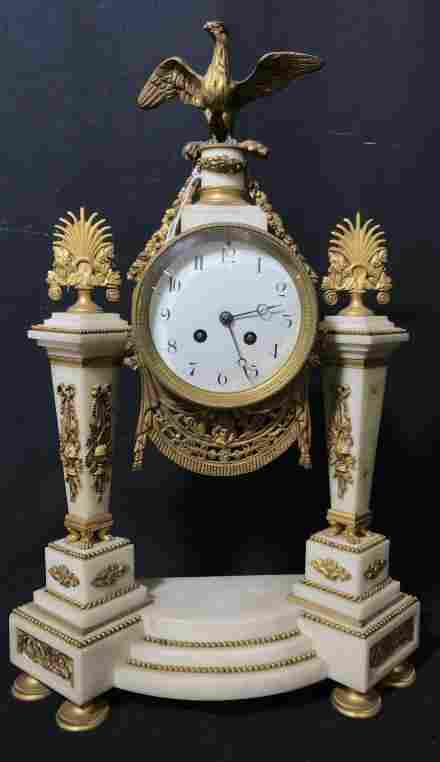 Antique French Empire Marble & Bronze Mantle Clock