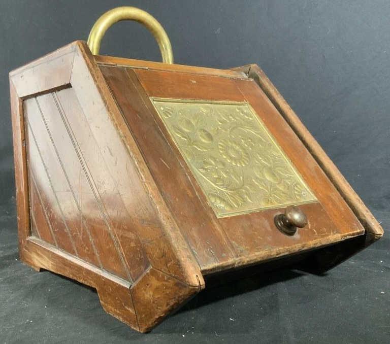 Antique Wood Brass Metal Coal Scuttle w Shovel