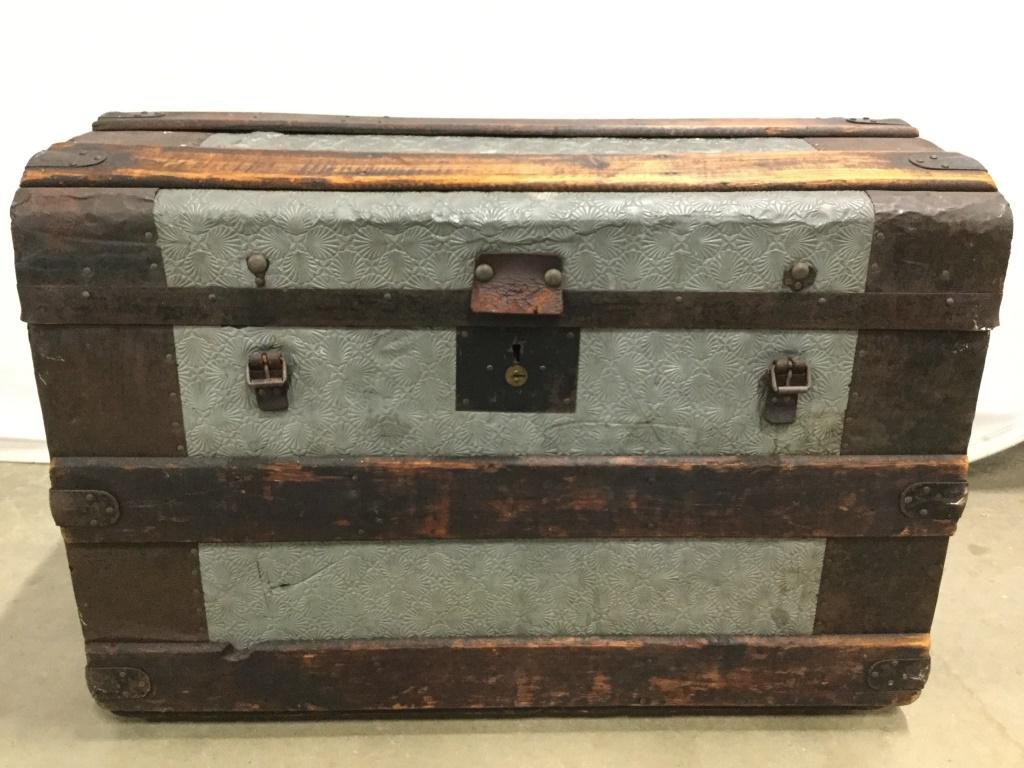 GEORGE MALLOY Antique Pressed Tin Chest