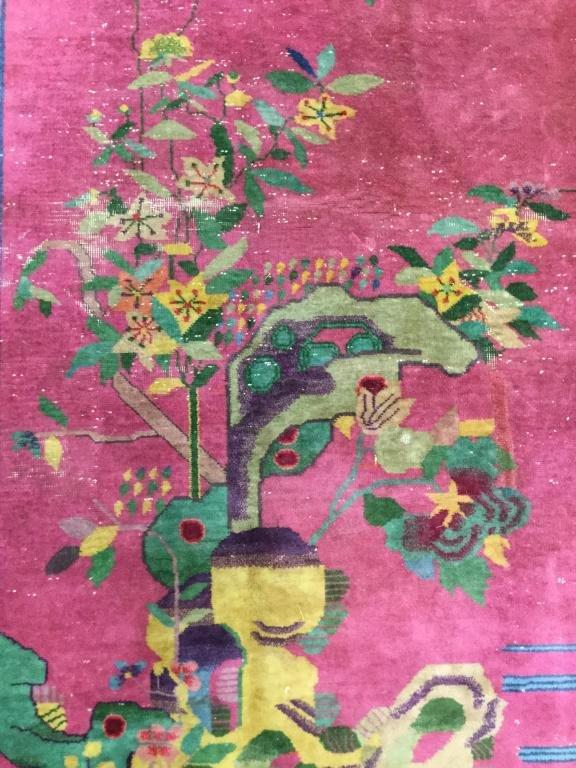 Vintage Chinese Art Deco Handmade Wool Pile Rug