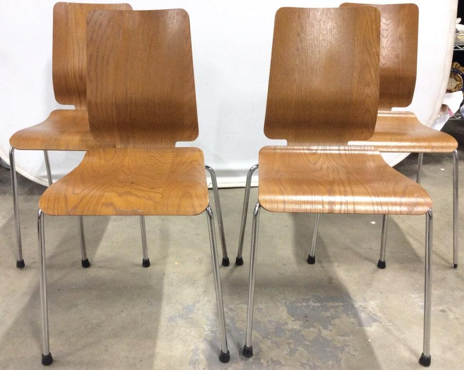 Set 4 Mid Century Modern Stacking Plywood Chairs