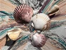 Pair Beach Decor Wall Art, Shells & Sand Art