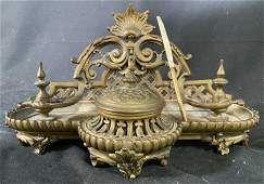 Gilded Bronze Inkwell w Pen