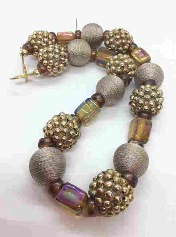 Mixed Materials Beaded Statement Necklace