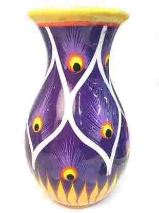 Peacock Feather Design Ceramic Vase
