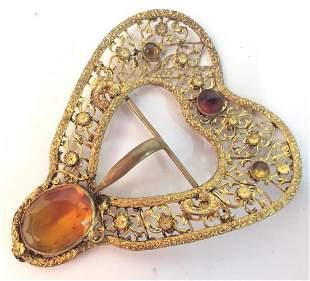Brass Toned metal heart Buckle, Fashion Acc