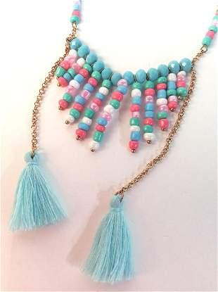Beaded Tassel Charm Necklace