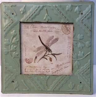 Dragonfly Illustration Print in Green Toned Frame