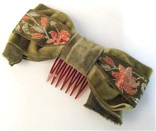 Velveteen Fabric Embroidered Hair Accessory