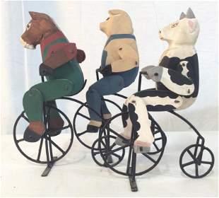 Set 3 Carved wood Folk Art Articulated Figures