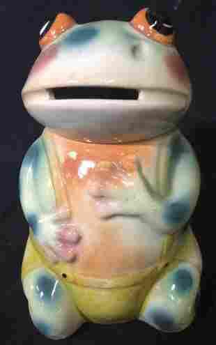 Whimsical Ceramic Frog Coin Piggy Bank