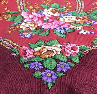 Vintage Floral Fringe Shawl, Made in Russia