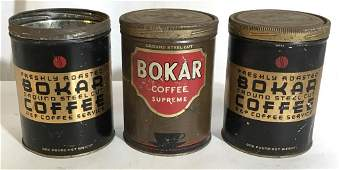 Antique Collectible BOKAR Coffee Tins