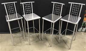 Set 4 Stainless Steel Bar Counter Stools