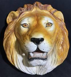 Grand Life-Size Majolica LION's Head Sculpture