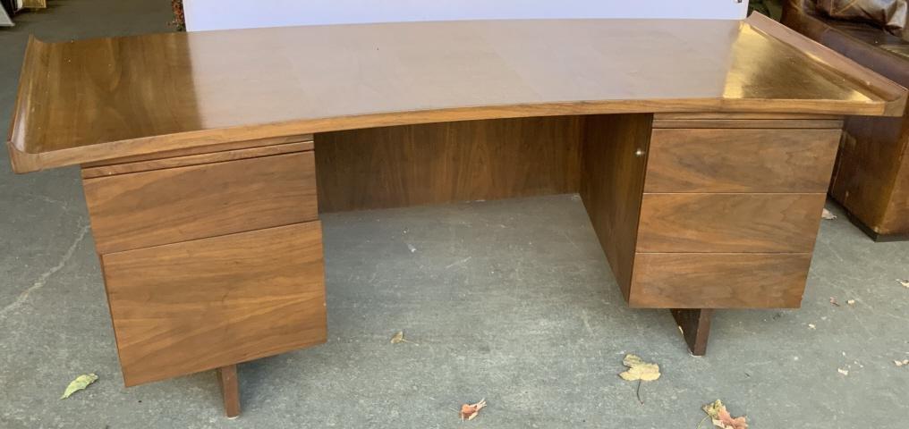 Harvey Probber Curved Walnut Top Executive Desk