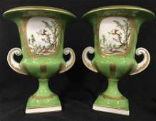 Pair Chelsea House Porcelain Ceramic Urns