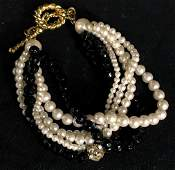 Vintage black, white, and gold toned bracelet