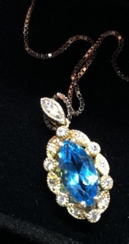 Vintage Authentic Blue Topaz & Diamond In Gift Box