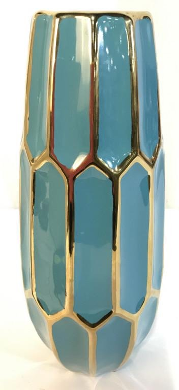 Teal & Gold Toned Ceramic Centerpiece Vase