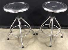 Pair Of Stainless Steel Bar Stools
