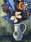 Initial Signed Gouache Painting, Floral Still Life