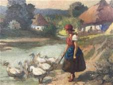 Signed Oil Painting on Board, Girl W Geese