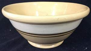Vintage Yellow Ware Footed Bowl