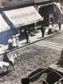 Vintage black and white city scene print