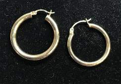 14 K Yellow Gold Hoop Earrings