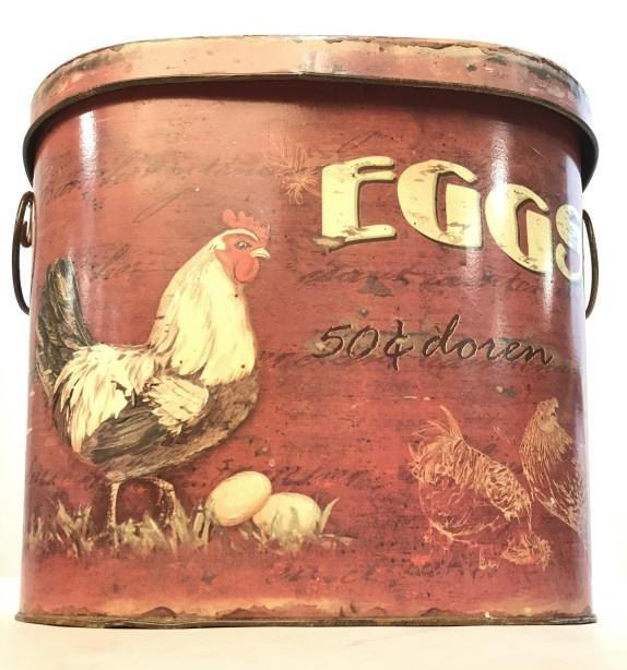 Vintage Metal Basket W Lid & Chicken Illustration