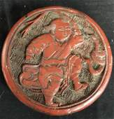 Antique Chinese Carved and Lacquered Jewelry Box