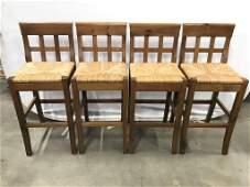 Set 4 Wooden Stools W Backrests Rush Seats