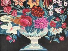 Vintage Handmade Needlepoint Wool Rug