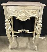Antique Carved Wooden Cherub Leg Side Table