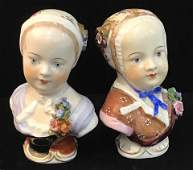 MeissenDresden Porcelain Female Head Busts pair