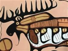 Gouache Painting after Norval Morrisseau, Moose