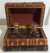 Vintage French Faux Book Decanter Set