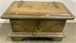 Antique Hand Painted Wooden Chest
