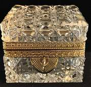 Vintage German Cut Crystal keepsake Box w Key