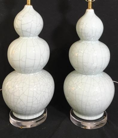 Pair Christopher Spitzer Style Triple Gourd Lamps