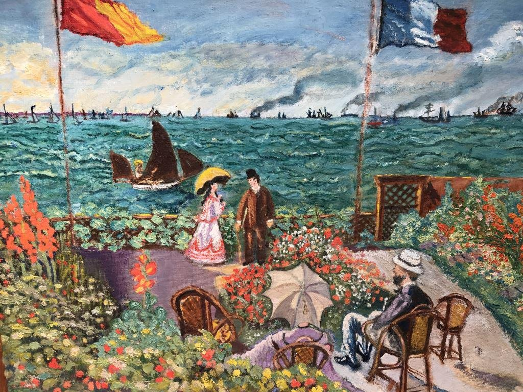 Vintage Acrylic on Canvas Board, after Monet