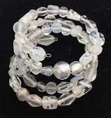 White Toned Glass Bead Wrap Bracelet