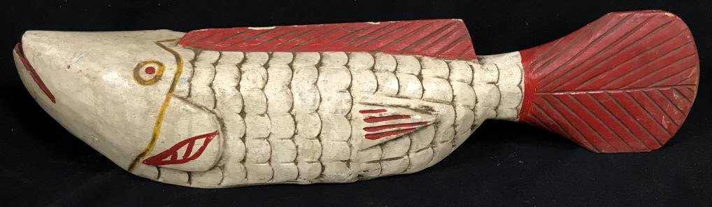 African Art Carved Bozo Masquerade Fish Sculpture