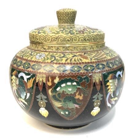 Vintage Japanese Cloisonné Lidded Jar
