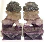 Pr Carved Semiprecious Stone Foo Dog Figurals
